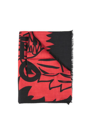 Kenzo: scarves - Tiger print wool and silk scarf