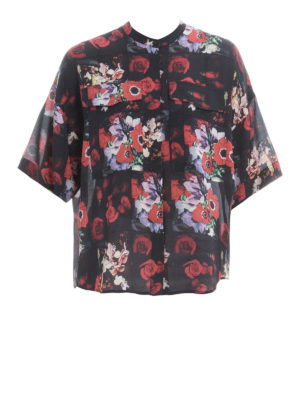 Kenzo: shirts - Flower print silk over shirt