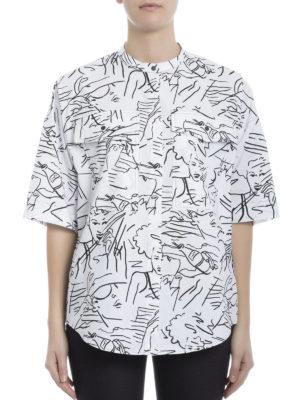 Kenzo: shirts online - Sketch print cotton poplin shirt