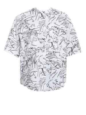 Kenzo: shirts - Sketch print cotton poplin shirt