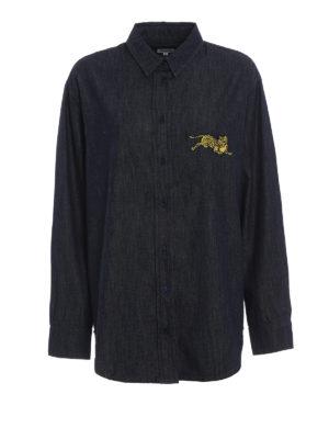 KENZO: camicie - Camicia in denim con ricamo tigre