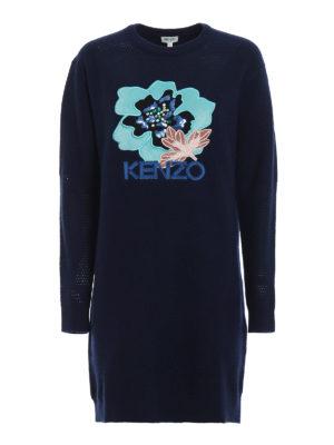 KENZO: abiti corti - Abito corto in maglia con patch e strass