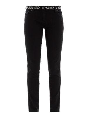 KENZO: jeans skinny - Jeans slim neri con stampa logo