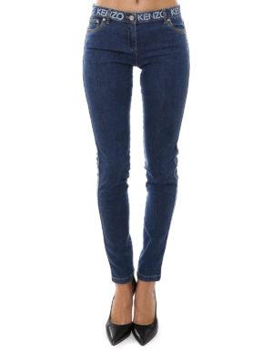Kenzo: skinny jeans online - Printed logo detail jeans