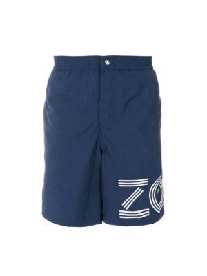 KENZO: Costumi piscina e boxer - Boxer da mare blu con stampa logo
