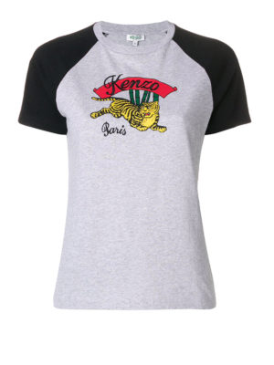 KENZO: t-shirt - T-shirt Bamboo Tiger in jersey bicolore