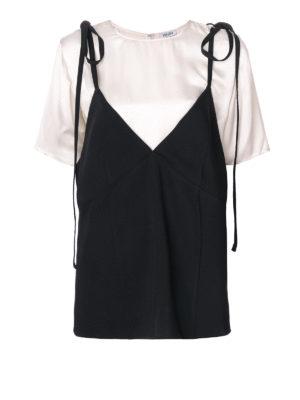 KENZO: t-shirt - Maglia doppio strato bianca e nera