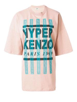 KENZO: t-shirt - T-shirt con strisce in organza