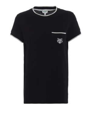 KENZO: t-shirt - T-shirt nera in cotone piqué con patch Tiger