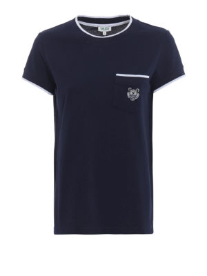 KENZO: t-shirt - T-shirt in cotone piqué blu con patch Tiger