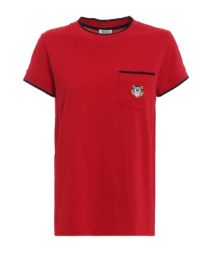 KENZO: t-shirt - T-shirt rossa in cotone piqué con patch Tiger