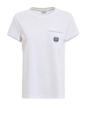 KENZO: t-shirt - T-shirt in cotone piqué con patch Tiger