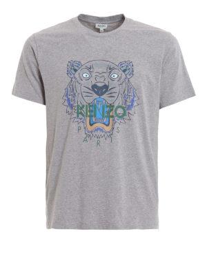 KENZO: t-shirts - Tiger print melange grey T-shirt