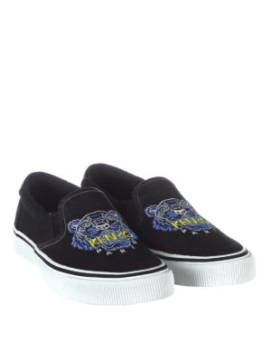 Kenzo: trainers online - Tiger black canvas slip-ons