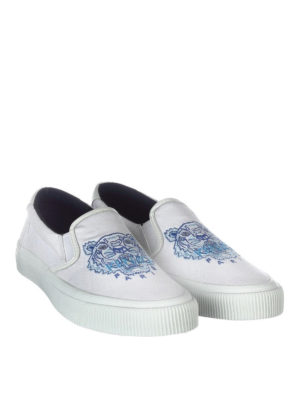 Kenzo: trainers online - Tiger embroidery cotton slip-ons