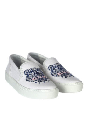 Kenzo: trainers online - Tiger white cotton slip-ons