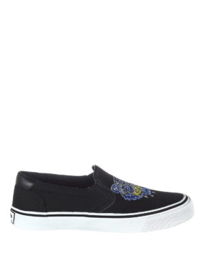 Kenzo: trainers - Tiger black canvas slip-ons