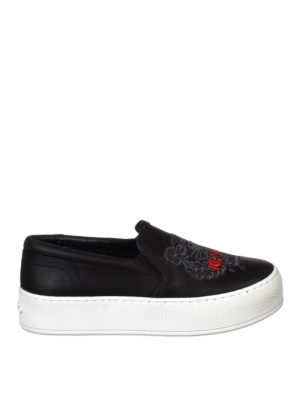 Kenzo: trainers - Tiger leather slip-on sneakers