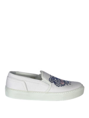 Kenzo: trainers - Tiger white cotton slip-ons
