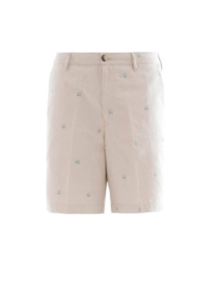 Kenzo: Trousers Shorts - Micro print cotton chino shorts