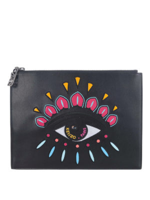 Kenzo: wallets & purses - Eyes black leather zipped pouch