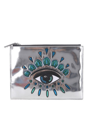 Kenzo: wallets & purses - Eyes metallic leather zipped pouch