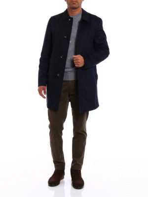 Kired: short coats online - Peak blue reversible raincoat