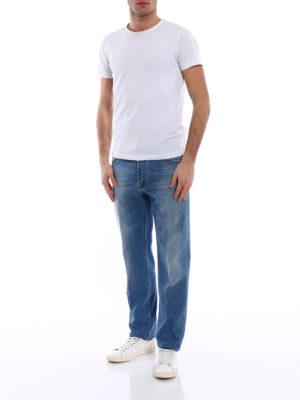 Kiton: straight leg jeans online - Washed stretch denim jeans