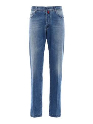 Kiton: straight leg jeans - Washed stretch denim jeans