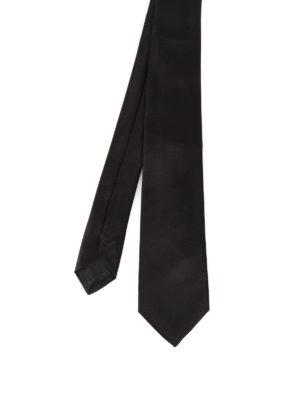 Kiton: ties & bow ties - Black opaque silk satin tie