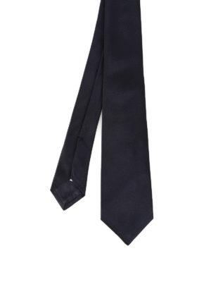 Kiton: ties & bow ties - Dark blue opaque silk satin tie