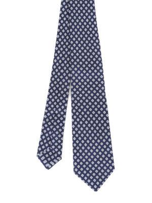 Kiton: ties & bow ties - Geometric flower blue silk tie