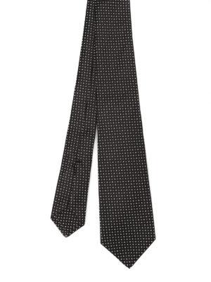 Kiton: ties & bow ties - Jacquard silk black tie