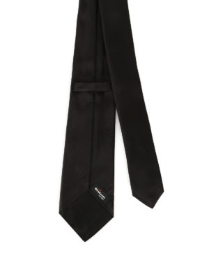 Kiton: ties & bow ties online - Black opaque silk satin tie
