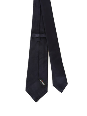 Kiton: ties & bow ties online - Dark blue opaque silk satin tie