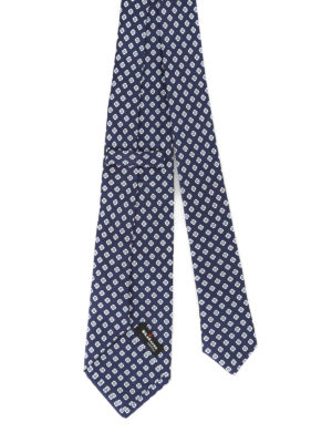Kiton: ties & bow ties online - Geometric flower blue silk tie