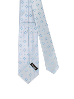 Kiton: ties & bow ties online - Patterned pale blue silk tie