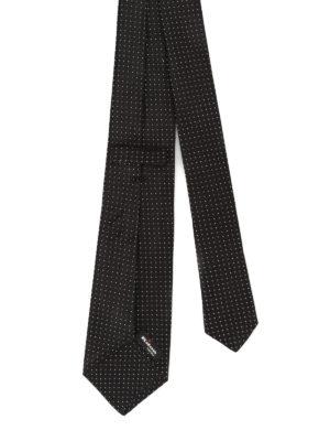 Kiton: ties & bow ties online - Polka dot silk black tie