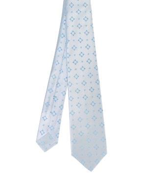 Kiton: ties & bow ties - Patterned pale blue silk tie