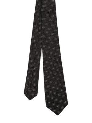 Kiton: ties & bow ties - Polka dot silk black tie