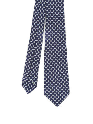 Kiton: ties & bow ties - Stylized flower patterned silk tie