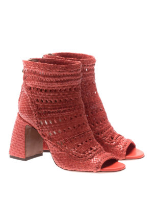 L' Autre Chose: ankle boots online - Twine leather peep toe low booties