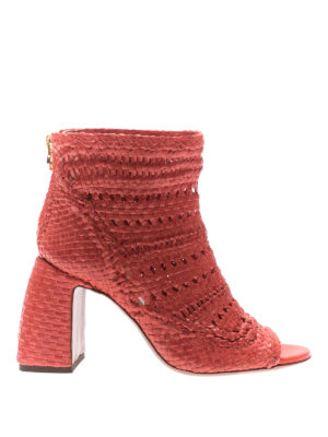 L' Autre Chose: ankle boots - Twine leather peep toe low booties