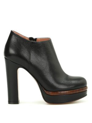 L' Autre Chose: ankle boots - Wood effect detail leather booties