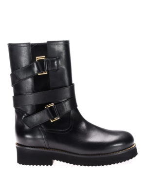 L' Autre Chose: boots - Multi buckle leather biker boots