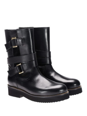 L' Autre Chose: boots online - Multi buckle leather biker boots