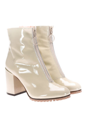 L' Autre Chose: boots online - Polish leather & shearling booties