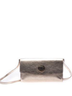 L' Autre Chose: clutches - Gold tone laminated leather clutch