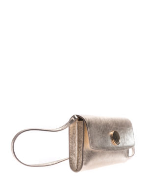 L' Autre Chose: clutches online - Gold tone laminated leather clutch