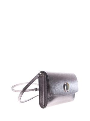 L' Autre Chose: clutches online - Silver laminated leather clutch